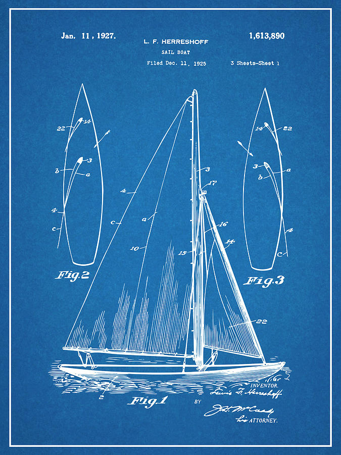 Art & Collectibles Drawing - 1927 Herreshoff Sail Boat Patent Print Blueprint by Greg Edwards