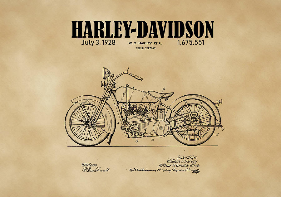 1928 Harley Davidson Motorcyle Patent Illustration Art Print by David Millenheft