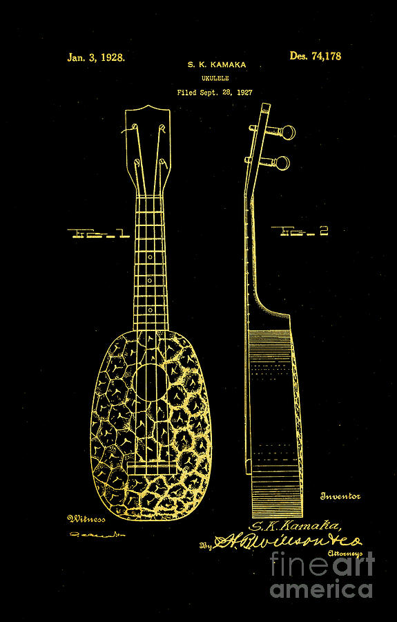 1928 Ornamental Pineapple Ukulele Patent Gold On Black Photograph
