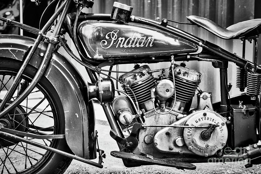 1930 Indian 101 Scout Motorcycle Monochrome by Tim Gainey