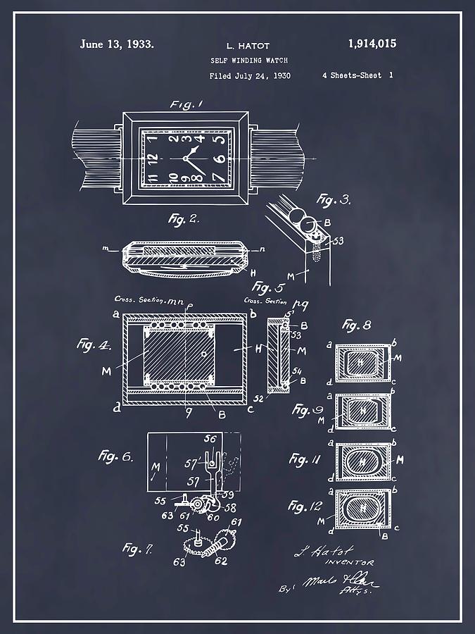 Art & Collectibles Drawing - 1930 Leon Hatot Self Winding Watch Patent Print Blackboard by Greg Edwards