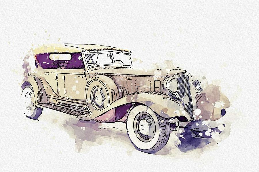 1933 Chrysler CL Imperial 2 watercolor by Ahmet Asar by Ahmet Asar
