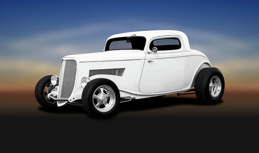 Hot Rod Photograph - 1933 Ford 3 Window Coupe   -  1933ford3windowcoupewhite196599 by Frank J Benz