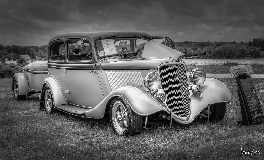 2019 Digital Art - 1933 Ford Tudor Sedan With Trailer by Ken Morris