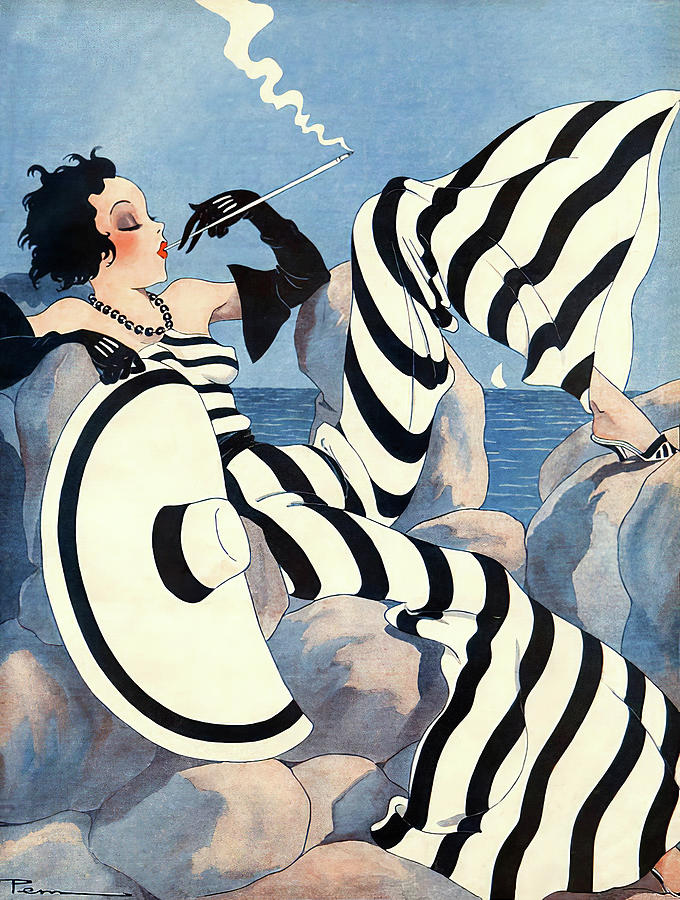 Fashion Mixed Media - 1933 French Art Deco Fashion Art by Vintage Lavoie