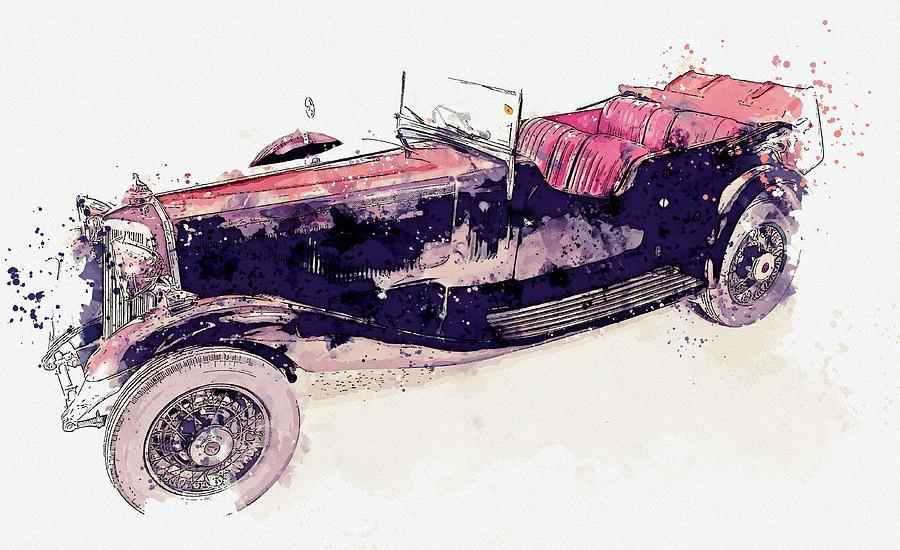 1934 Armstrong Siddeley Special Cabriolet 30HP Open Tourer 3 watercolor by Ahmet Asar by Ahmet Asar