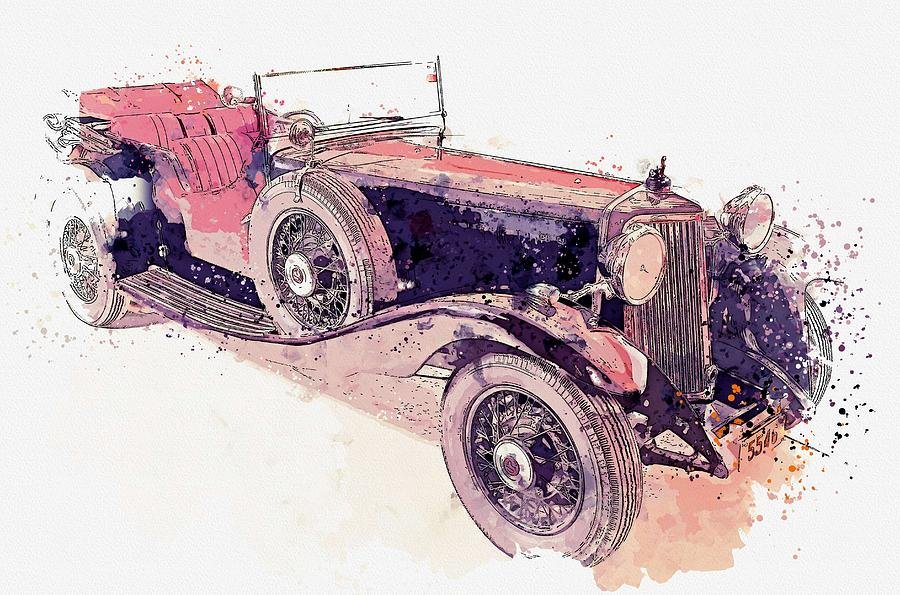 Retro Painting - 1934 Armstrong Siddeley Special Cabriolet 30hp Open Tourer Watercolor By Ahmet Asar by Ahmet Asar