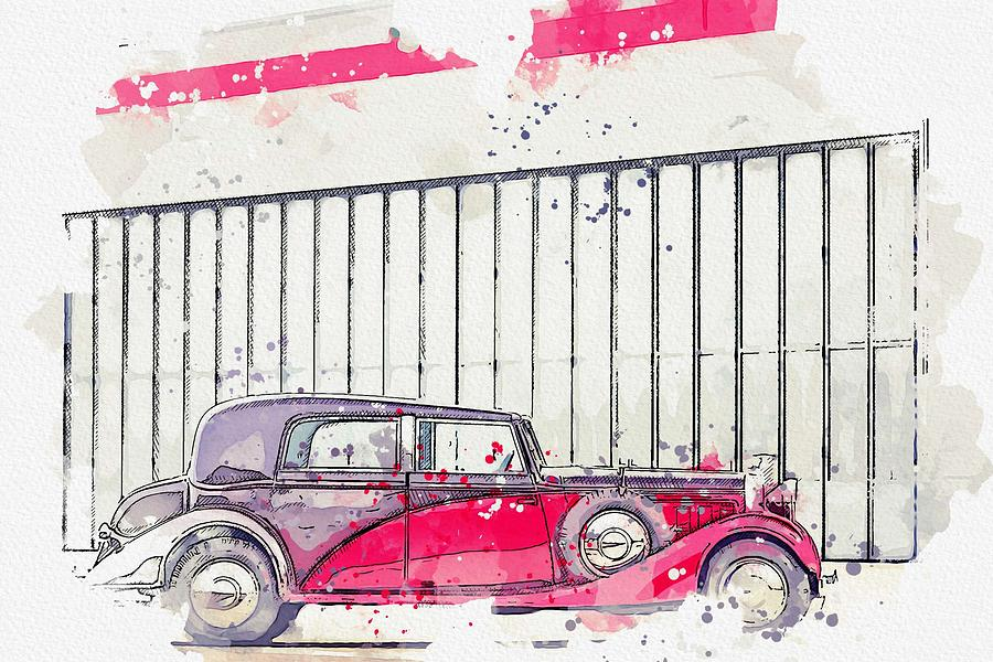 1934 Hispano-Suiza K6 Coupe de Ville by Franay 2 watercolor by Ahmet Asar by Ahmet Asar