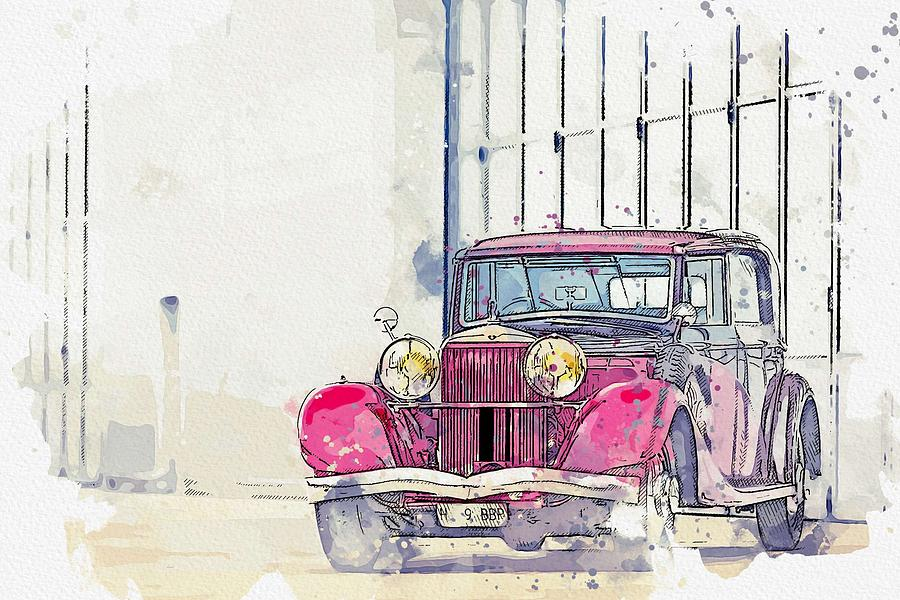 1934 Hispano-Suiza K6 Coupe de Ville by Franay 4 watercolor by Ahmet Asar by Ahmet Asar