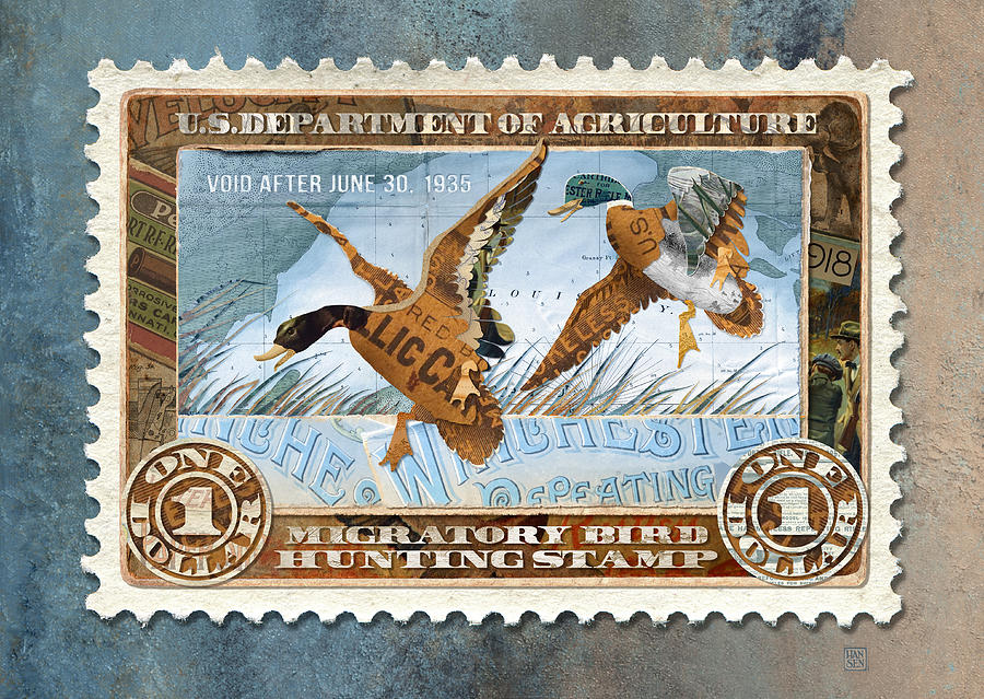 1934 Hunting Stamp Collage by Clint Hansen