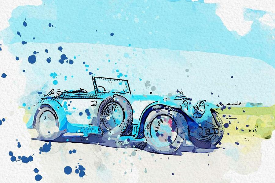 1934 Invicta S Type Low Chassis Drophead Coupe 2 watercolor by Ahmet Asar by Ahmet Asar