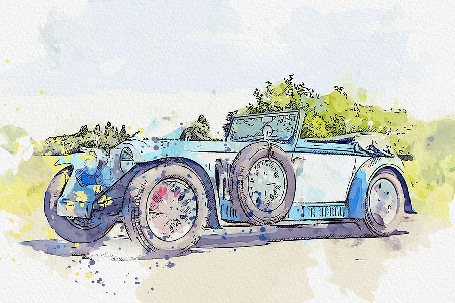 1934 Invicta S Type Low Chassis Drophead Coupe watercolor by Ahmet Asar by Ahmet Asar