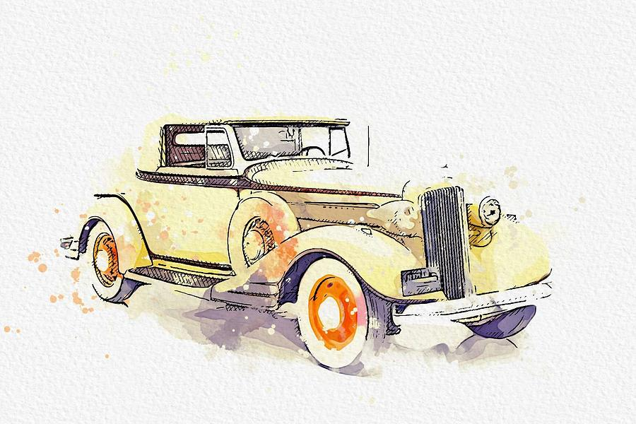 1934 Pontiac Eight watercolor by Ahmet Asar by Ahmet Asar