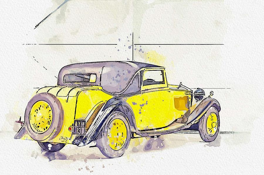 1934 Rolls-Royce 20 25 H.P. Coupe by Barker 2 watercolor by Ahmet Asar by Ahmet Asar