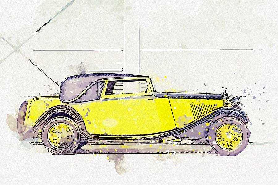 1934 Rolls-Royce 20 25 H.P. Coupe by Barker 4 watercolor by Ahmet Asar by Ahmet Asar