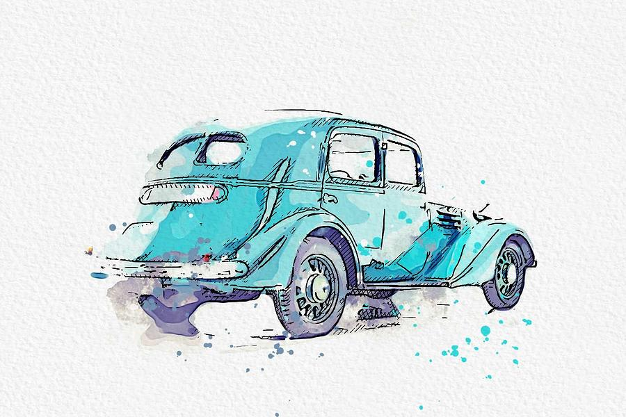 1935 Renault Viva Grand Sport RENAULT VIVASPORT OF 1935 3 watercolor by Ahmet Asar by Ahmet Asar