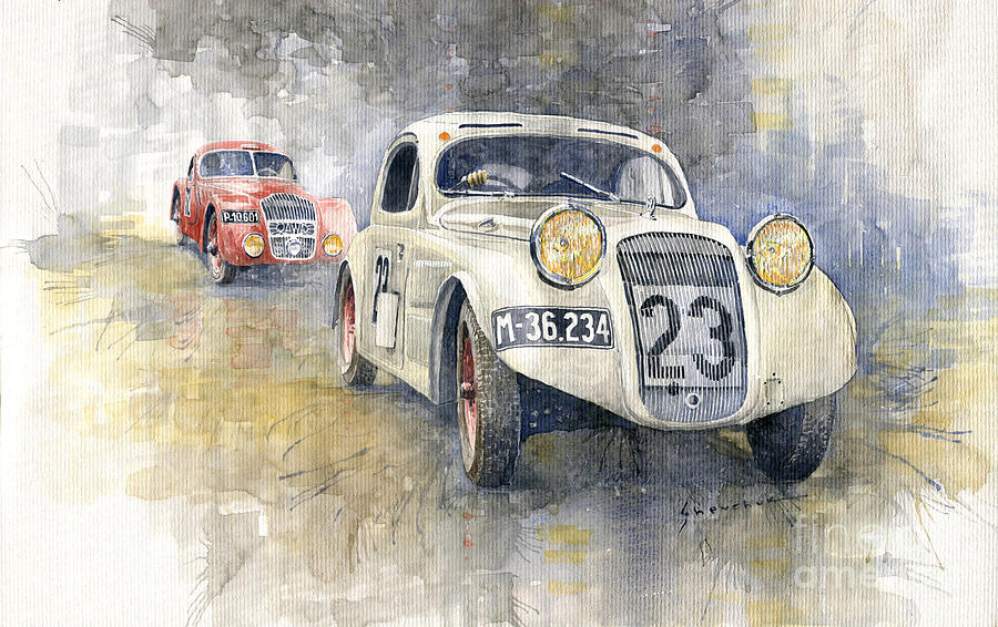 Watercolor Painting - 1935 Skoda Rapid Six Coupe  Jawa 750 Coupe Race1000 Mil Ceskoslovenskych by Yuriy Shevchuk