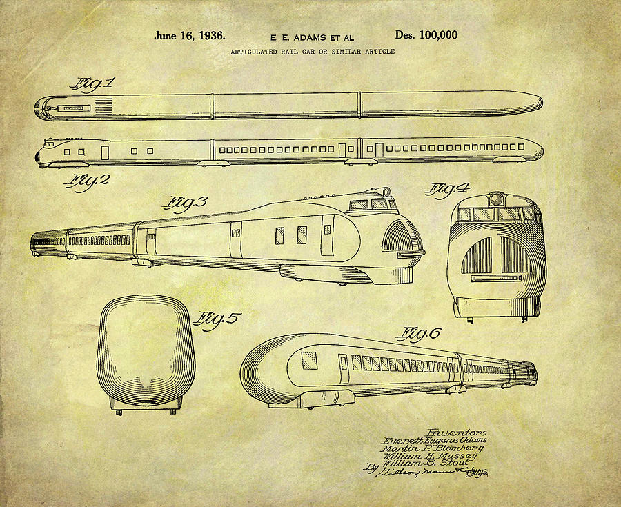 Union Pacific Drawing - 1935 Union Pacific Train Patent by Dan Sproul