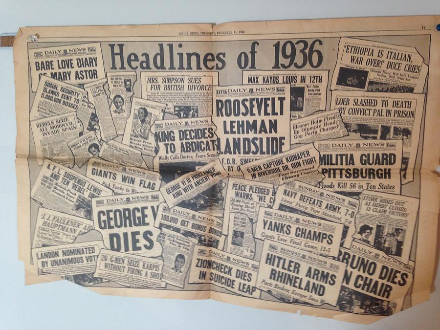 1936 Photograph - 1936 Headlines by Marty Klar