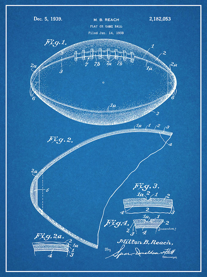 Art & Collectibles Drawing - 1936 Reach Football Blueprint Patent Print by Greg Edwards