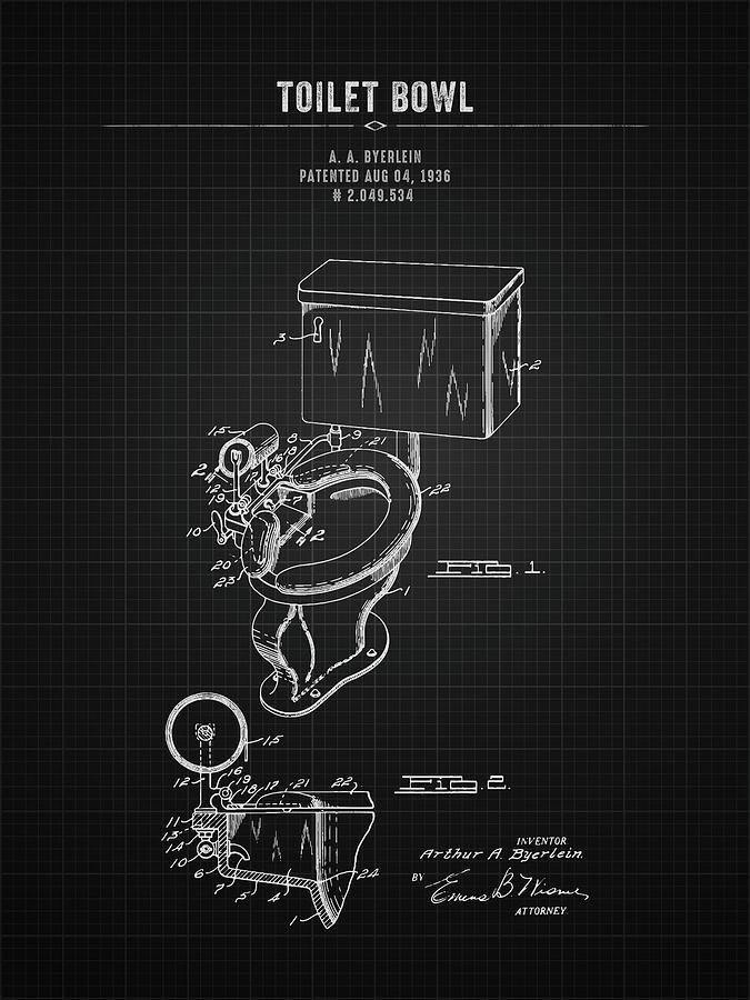 Toilet Seat Digital Art - 1936 Toilet Bowl - Black Blueprint 1936 by Aged Pixel