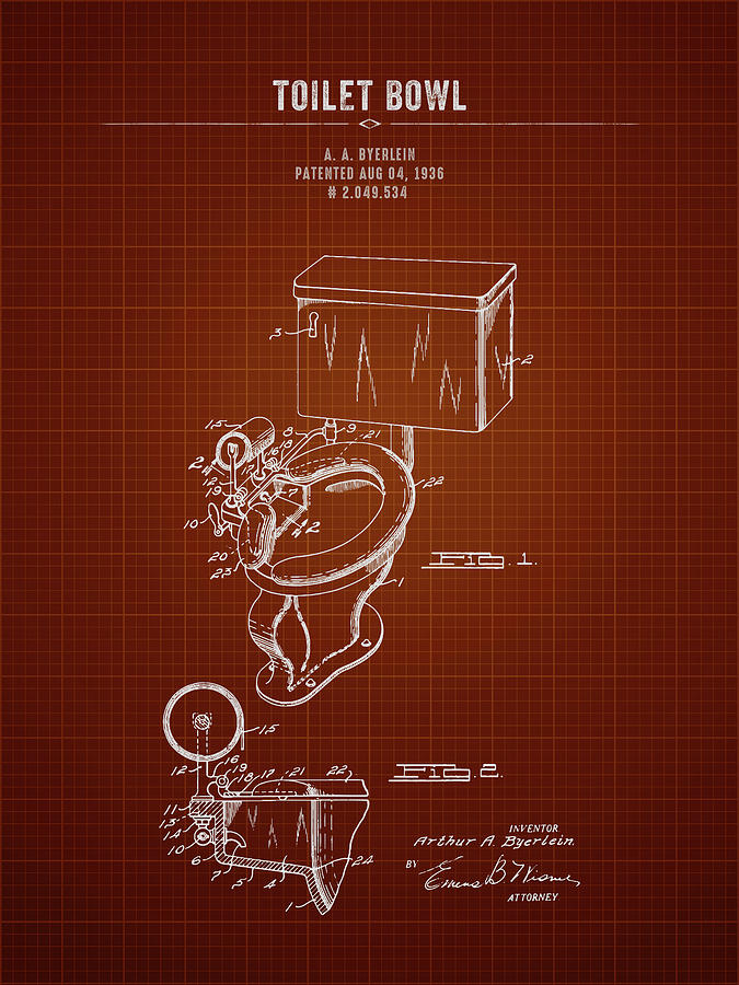 Astounding 1936 Toilet Bowl Dark Red Blueprint Ocoug Best Dining Table And Chair Ideas Images Ocougorg