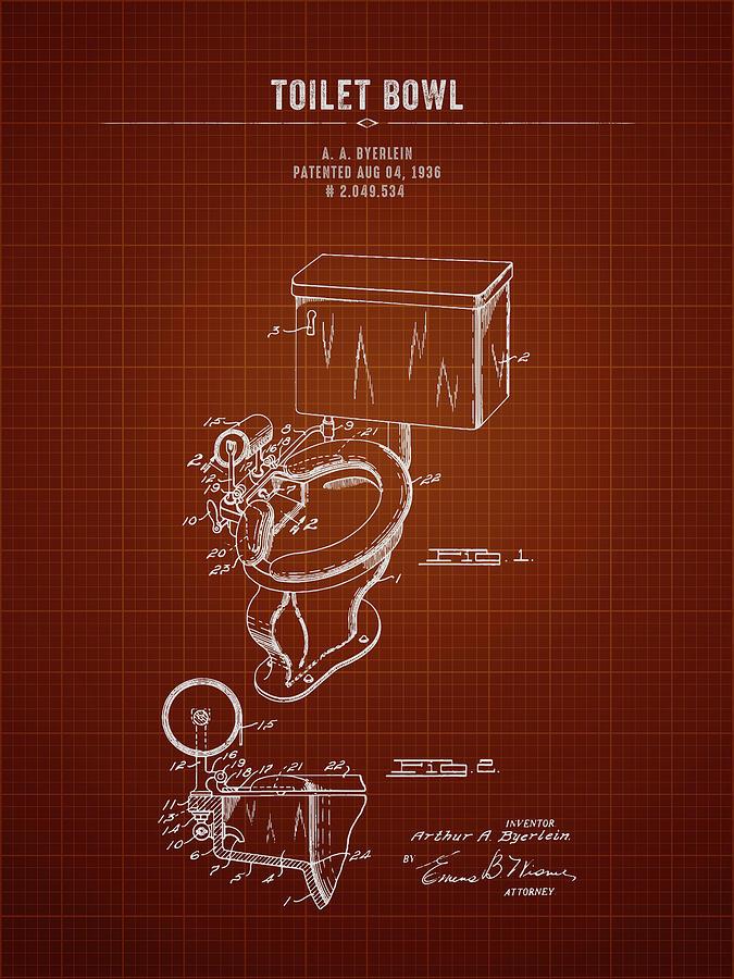 Amazing 1936 Toilet Bowl Dark Red Blueprint Unemploymentrelief Wooden Chair Designs For Living Room Unemploymentrelieforg