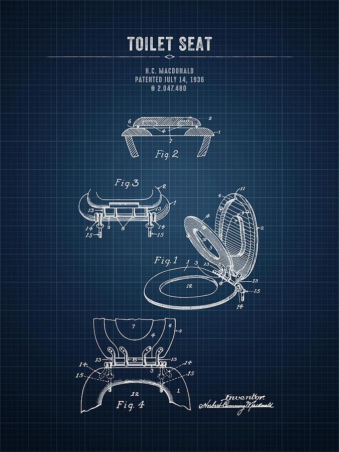 Toilet Seat Digital Art - 1936 Toilet Seat - Dark Blue Blueprint by Aged Pixel