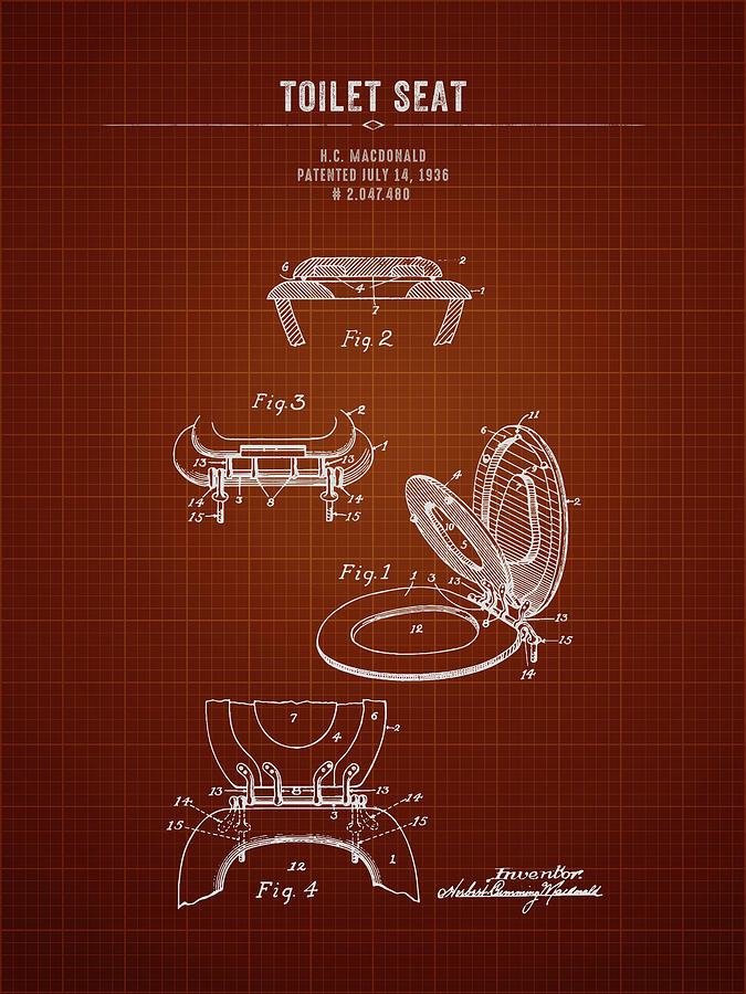 Fine 1936 Toilet Seat Dark Red Blueprint Ocoug Best Dining Table And Chair Ideas Images Ocougorg