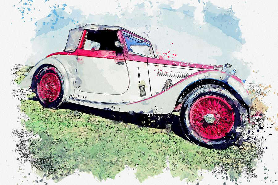 1937 Aston Martin 15 98 2 watercolor by Ahmet Asar by Ahmet Asar