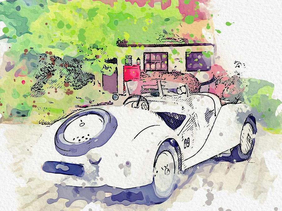 1937 BMW 328 Roadster 2 watercolor by Ahmet Asar by Ahmet Asar