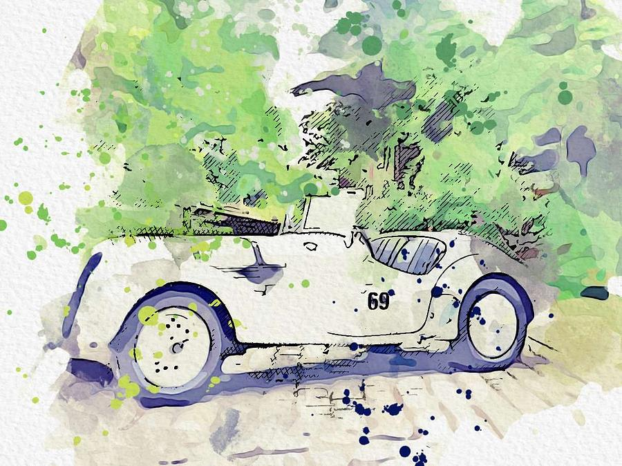 1937 BMW 328 Roadster 4 watercolor by Ahmet Asar by Ahmet Asar
