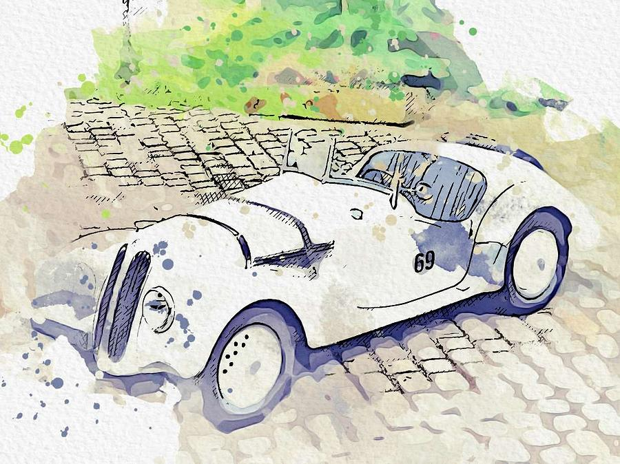 1937 BMW 328 Roadster watercolor by Ahmet Asar by Ahmet Asar