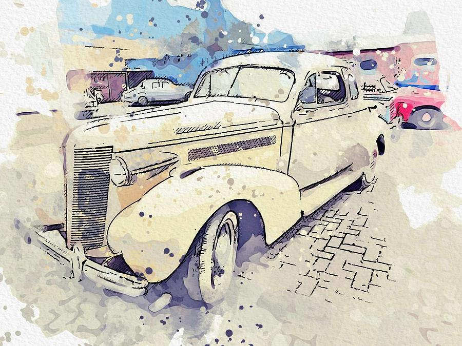 1937 Buick Model 38 watercolor by Ahmet Asar by Ahmet Asar