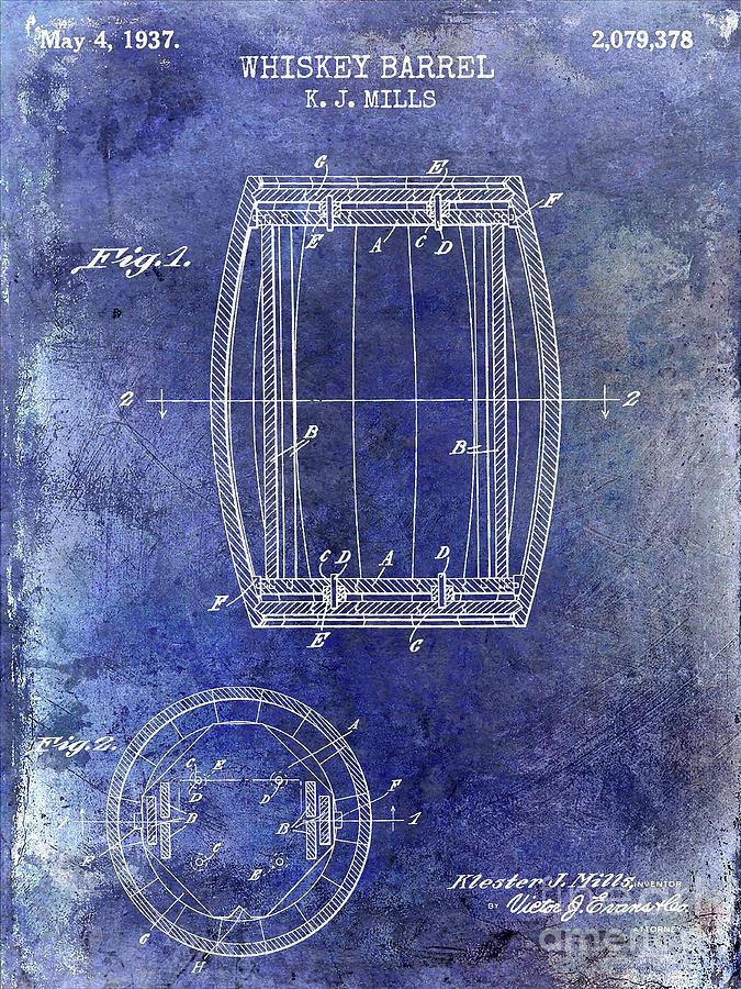 Barrel Photograph - 1937 Whiskey Barrel Patent by Jon Neidert