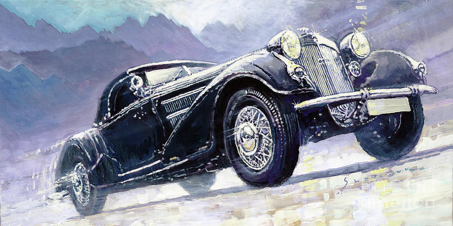 Paintings Painting - 1938 Horch 855 Special Roadster by Yuriy Shevchuk