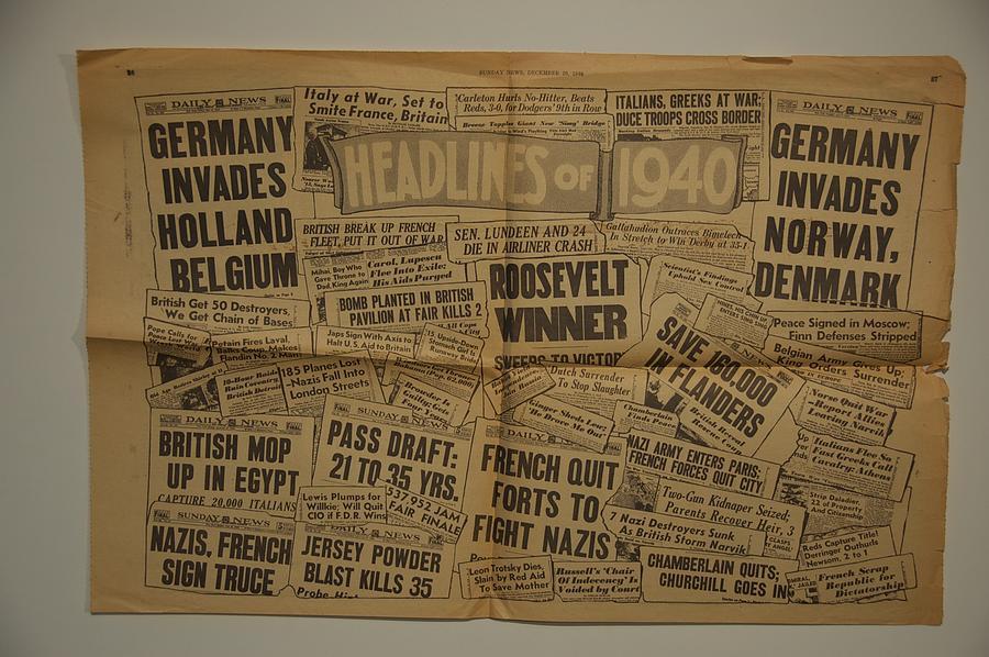 History Photograph - 1940 Headlines by Marty Klar