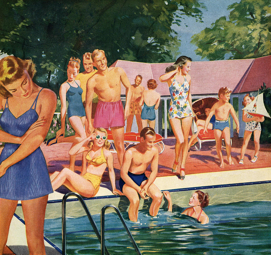 1940s Pool Party Digital Art by Graphicaartis