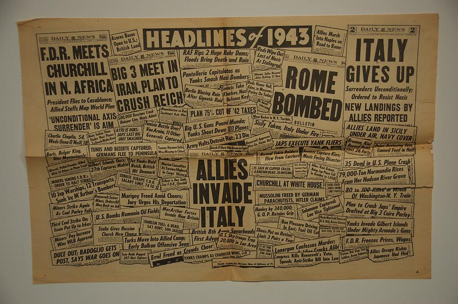 History Photograph - 1943 Headlines by Marty Klar