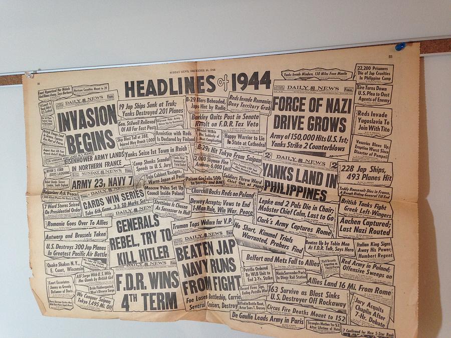 1944 Photograph - 1944 Headlines by Marty Klar