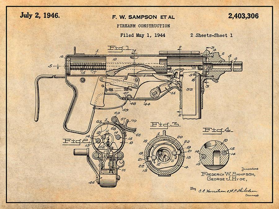 1944 M3 Submachine Gun Antique Paper Patent Print by Greg Edwards