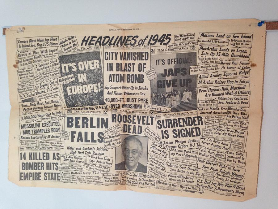 1945 Photograph - 1945 Headlines by Marty Klar