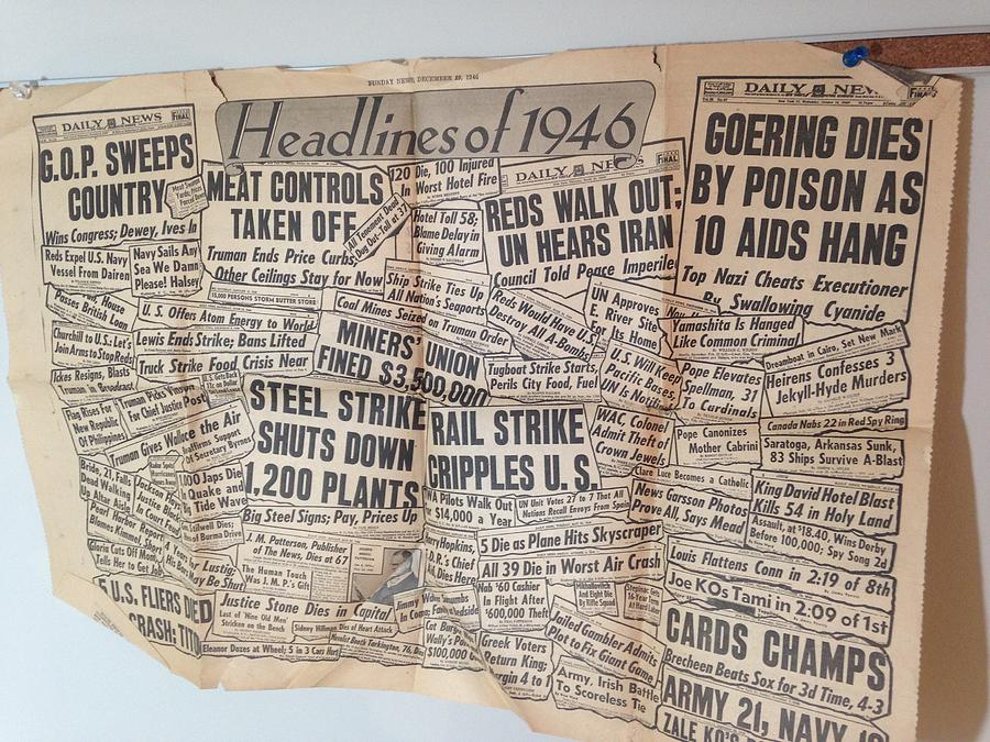 1946 Photograph - 1946 Headlines by Marty Klar