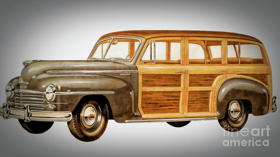 1946 Plymouth Painting - 1946 Plymouth Station Wagon by GabeZ Art