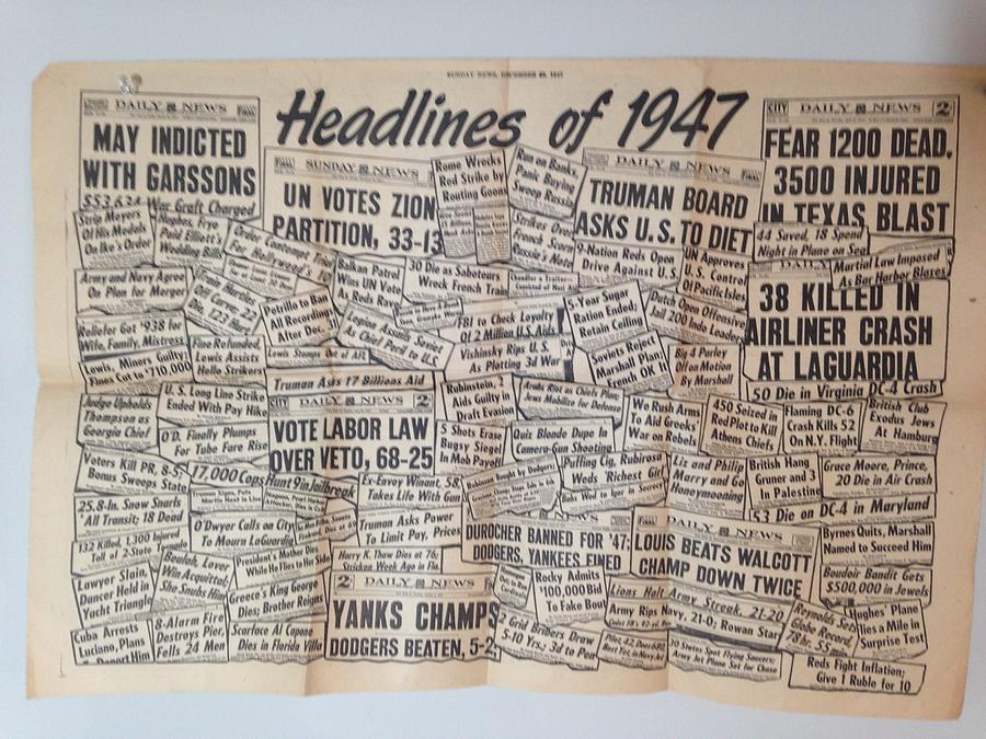 Headlines Photograph - 1947 Headlines by Marty Klar