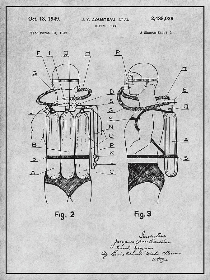 Art & Collectibles Drawing - 1947 Jacques Cousteau Diving Suit Patent Print Gray by Greg Edwards