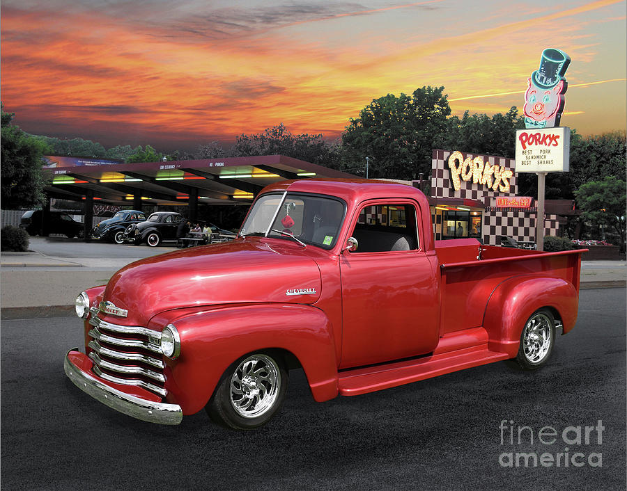 1949 Chevy Pickup At Porkys Drive-in Photograph