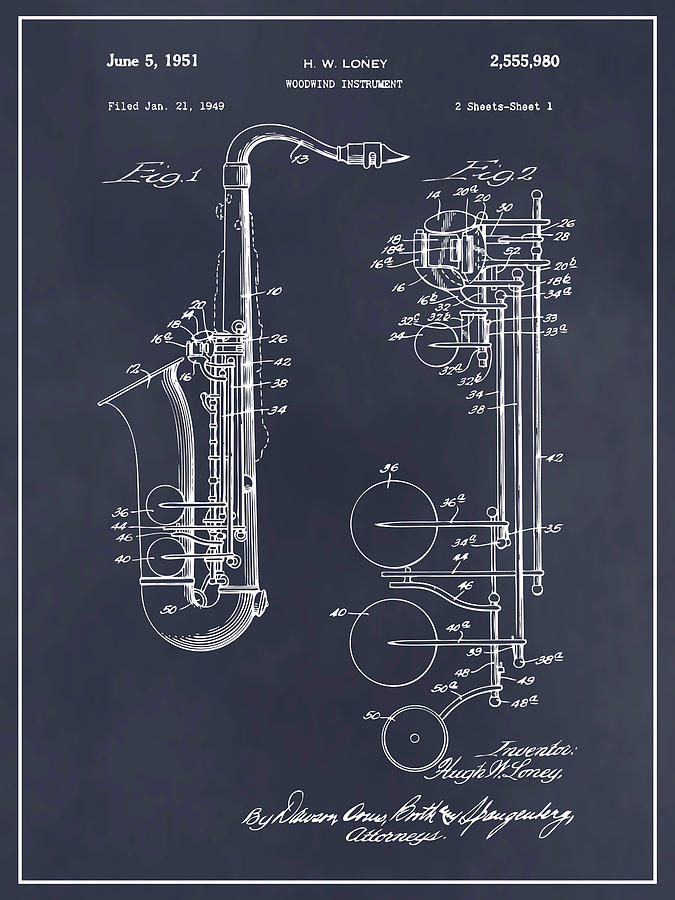 4bf947d478be2 1949 Saxophone Blackboard Patent Print by Greg Edwards