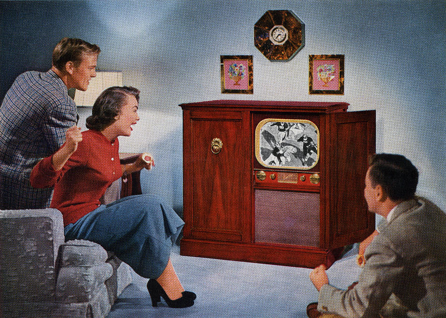 1950s Family Watching Football Digital Art by Graphicaartis