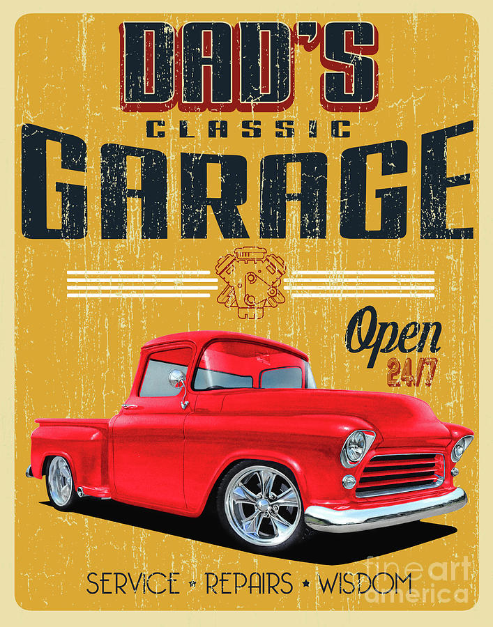 1950s Garage Of Dads Mixed Media